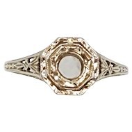 Edwardian 18K White Gold Engagement Ring Setting