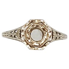Edwardian 18K White Gold Engagement Ring Setting
