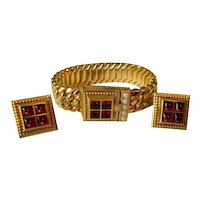 Vintage Speidel Locket Bracelet & Earrings Set