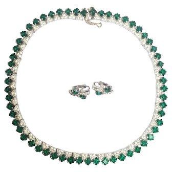 Panetta Emerald Green Rhinestone Necklace & Earrings Set
