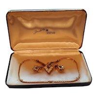 Jewels by Trifari Rhinestone Necklace Earring Set in Original Box