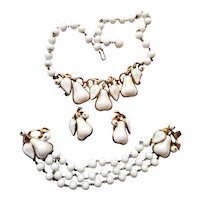 Trifari White Glass Pear Necklace, Bracelet, and Earrings Signed