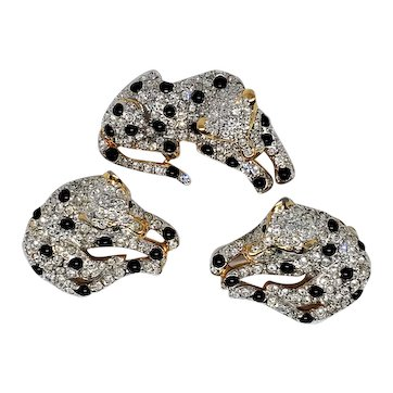 Fabulous Carolee Spotted Leopard Pin & Earring Set