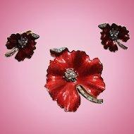 Trifari Fly on Flower Set