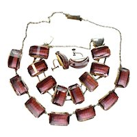 Haunted Silver & Quartz Crystal Necklace Bracelet Earrings Set
