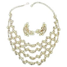 Coro Pearl & Rhinestone Necklace Earring Set