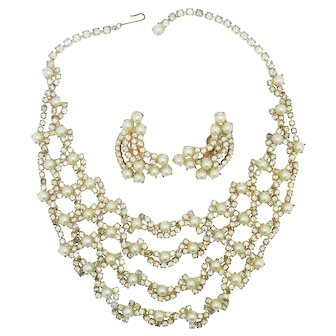 Coro Pearl & Rhinestone Necklace Earring Set