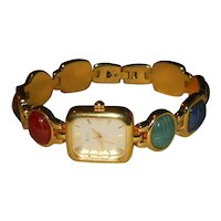 Kenneth J Lane KJL scarab watch bracelet - ladies