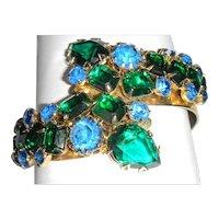 Blue & Green Rhinestone Clamper Bracelet