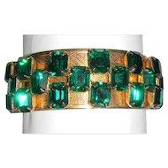 Green Emerald Cut Rhinestone Bracelet 1940s