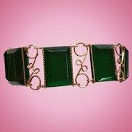 Green Lucite & Wire Bracelet
