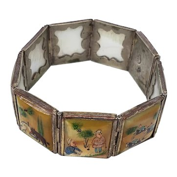 Silver and Mother of Pearl Panel Link Story Bracelet - Hand Painted
