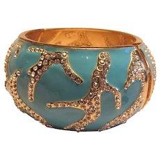 Blue Enamel Rhinestone Drift Wood Bracelet