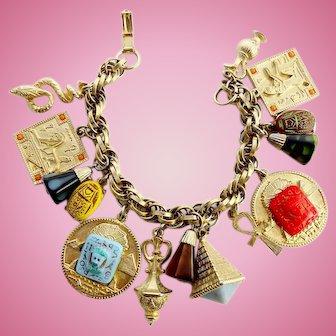 Egyptian Revival Charm Bracelet