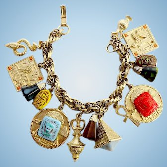 Egyptian Revival Charm Bracelet