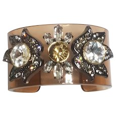 Smokey Lucite & Rhinestone Cuff Bracelet