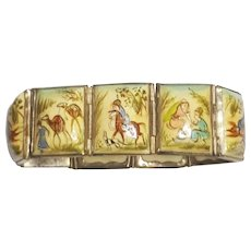 8 Panel Vintage Persian Story Tile Hand Painted Bracelet