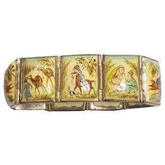 8 Panel Vintage Persian Story Tile Hand Painted Bracelet