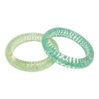Pair of Confetti Filled Lucite Bangle Bracelets - Blues