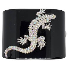 Unusual Black Plastic Lizard Cuff Bracelet