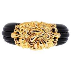 1980s Black Lucite & Goldtone Inna Cytrine Clamper Bracelet