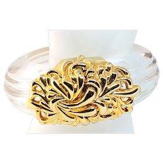 1980s Clear Lucite & Goldtone Inna Cytrine Clamper Bracelet