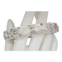 Rhinestone & Clear Lucite Bangle Bracelet