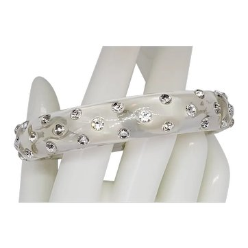 Rhinestone & Clear Lucite Bangle Bracelet