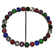 Multi-Colored Rhinestone Art Deco Sash Belt Pin