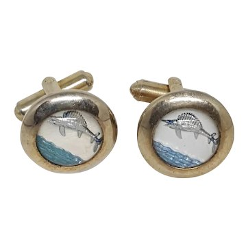 Sailfish & Ocean Under Glass Cufflinks