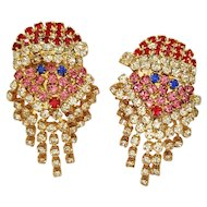 Santa Claus Ho Ho ho Rhinestone Earrings