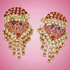 Santa Claus Ho Ho ho Rhinestone Earrings