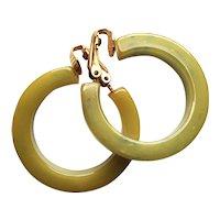 Vintage Hoop Earrings of Marbled Apple Green Bakelite