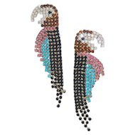 Rhinestone Parrot Earrings