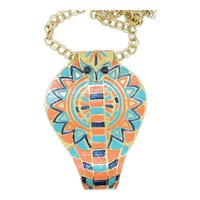 Huge Accessocraft Egyptian Cobra Snake Head Pendant Necklace