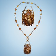 Art Nouveau Amber Glass & Spider Necklace