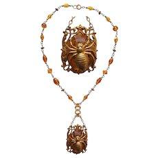 Art Nouveau Amber Glass & Spider Necklace
