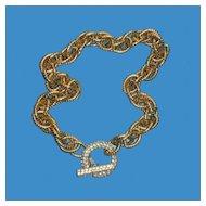 Unusual Chunky Chain Choker with Rhinestone Toggle