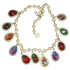 Rainbow Glass Teardrop Necklace on Pearl Chain