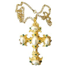 Goldtone Pearl & Emerald Green Rhinestone Cross Necklace