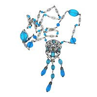 Neiger Brothers Pharaoh Blue Glass Necklace