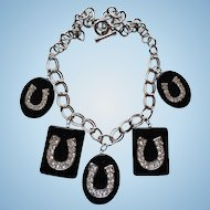 Lovely Vintage Celluloid Rhinestone Horseshoe Necklace