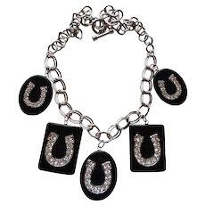 Lovely Vintage Celluloid Rhinestone Horseshoe Necklace