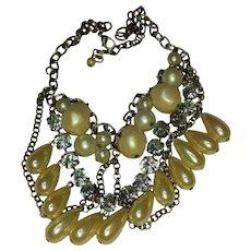 Faux Pearl & Rhinestone Festoon Necklace