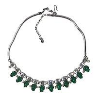 Emerald Green Mottled Fruit Shaped Rhinestone Necklace
