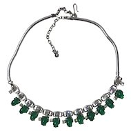 Emerald Green Mottled Fruit Shaped Rhinestone Necklace