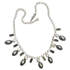 Gray Pearl & Rhinestone Necklace
