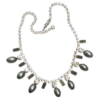 Gray Pearl & Rhinestone Necklace