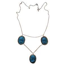 Blue Jasperware  Cameo Necklace