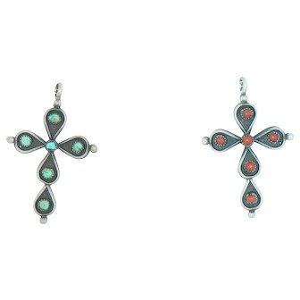 Reversible Turquoise & Coral Cross